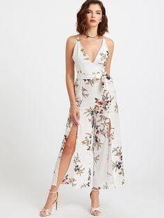 343a08db2ff Floral Print Deep V Neck Self Tie Split Jumpsuit Prom Jumpsuit