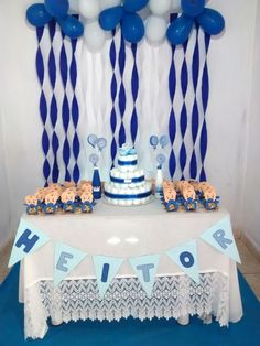 Simples e bonito e barato Baby Shower Balloon Decorations, Birthday Room Decorations, Baby Shower Balloons, Birthday Party Decorations, Baby Shower Parties, Baby Boy Shower, Girls First Birthday Cake, Birthday Gifts For Best Friend, Birthday Wishes