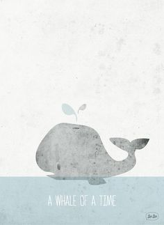 a whale of a time illustration- would be cute in Charlie's room