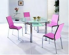Glass Round Dining Table Design With 4 Pink Chairs And White Floor, round dining table set, round dining table for 6 ~ Home Design Black Round Dining Table, French Dining Tables, Dining Table Design, Dining Table Chairs, Dining Furniture, Dining Rooms, Modern Kitchen Sinks, French Kitchen, Glass Kitchen Tables