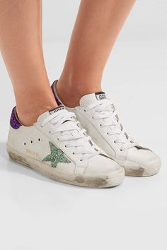 9edb467b047bc Golden Goose Deluxe Brand - Super Star Distressed Glitter-trimmed Mesh And  Leather Sneakers - White