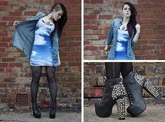 G Star Raw Denim Shirt, Black Milk Clothing Clouds Dress, Jeffrey Campbell Spiked Litas
