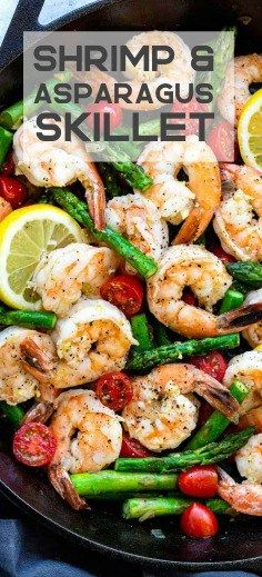 Lemon Garlic Shrimp and Asparagus Skillet is a quick and healthy one pan meal loaded with fresh citrus flavors Tender jumbo shrimp are marinated in lemon garlic olive oil. Fish Recipes, Seafood Recipes, Gourmet Recipes, Cooking Recipes, Healthy Recipes, Healthy Meals, Dinner Recipes, Cooking Ideas, Cheap Recipes