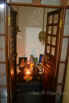 Whats Ur Home Story: Pooja roomdecor, Indian prayer room indian Interior Design Ideas Indian Style Ethnic Home Decor, Indian Home Decor, Indian Prayer, Temple Room, Indian Interior Design, Pooja Room Door Design, Design Bedroom, Indian Interiors, Puja Room