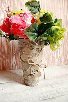 How To Bride: DIY- Birch Wood Vase Centerpiece