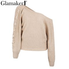 Winter lace up knitted sweater women Sexy batwing sleeve one shoulder jumper loose causal pullover sweater
