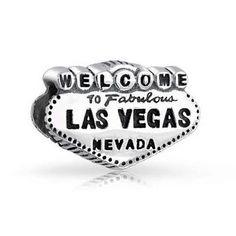 Fits Pandora European Charms Bracelet Welcome to Las Vegas Bead 100% 925 Sterling Silver Charm Beads DIY making M