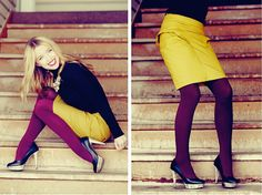 I love the Daybook! And everything about this look- the bright, contrasting colors, sexy heels, classic black turtleneck, and look-at-me statement necklace. Fancified fall fashion at its finest.