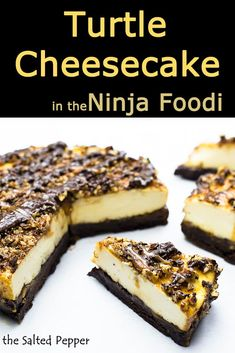 This recipe for Turtle Cheesecake can EASILY be made in the Ninja Foodi or other pressure cooker and the homemade caramel sauce is so good! Step-by-step instructions with video instruction included. Oreo Cheesecake, Turtle Cheesecake Recipes, Classic Cheesecake, Homemade Cheesecake, Key Lime Pie, Shortbread, Graham, Homemade Caramel Sauce, Ninja Recipes