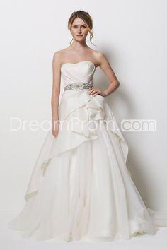 Luxurious A-line Strapless Floor-length Chapel Beaded Wedding Dresses