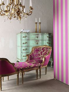 "I love the ""antique French"" look done modern & funky with hot pink & [what could be] a mirrored chest. The STRIPES on the wall totally make this room! <3"