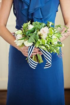 Lovely blush and green bouquet by Birdie tied with a navy striped ribbon. Photo by @Tara Lokey Photography. #wedding #bouquet #nautical #blush #green