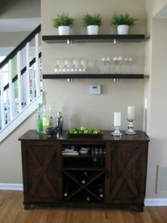 Buffet shelves do white or wood above my sideboard.....country pitchers...greenery....with blue grey walls and white trim and molding in middle....white or light color on bottom....look colonial/Quaker modern! !!!!!!!!!!!!!!!!! Love it.