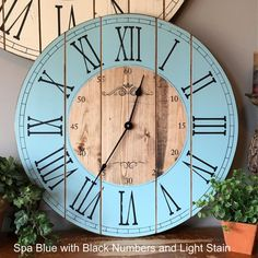 22 Inch Wooden Farmhouse Clock – Roman Numeral – Rustic Wall Clock – Large Wall Clock – Personalized Clock – Distressed Clock – Brianna – Chic Home Office Design Wall Clock Wooden, Rustic Wall Clocks, Unique Wall Clocks, Wood Clocks, Rustic Walls, Antique Clocks, Handmade Home Decor, Unique Home Decor, Pallette