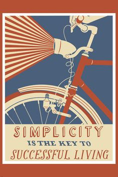 Vintage-Bicycle-SIMPLICITY-KEY-TO-SUCCESSFUL-LIVING-poster-COLORFUL-24X36-VW0