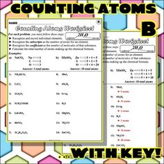 Worksheet: Counting Atoms Version E Science Resources, Science Education, Activities, Counting Atoms Worksheet, Polyatomic Ion, Exactly Like You, Chemical Formula, Interesting Topics, Handwriting Practice