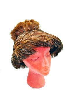 400de1dd9a4dc RePurpose Shop — Vintage Brown Feathered Fascinator Hat
