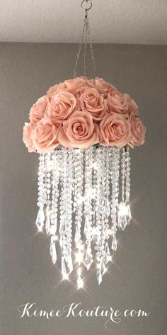 This type of floral nursery can be a very inspirational and great idea Acrylic Chandelier, Diy Chandelier, Chandeliers, Floral Chandelier, Chandelier Crystals, Nursery Chandelier, Floral Nursery, Nursery Decor, Girl Nursery