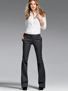 Fitted poplin shirt with low rise flare pants by Victoria's Secret SS 2014