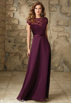 Bridesmaids Dresses Satin and Chiffon Removable Lace Bateau Jacket with Low V-Back and Satin Trim. Zipper Back. Shown in Eggplant. Available in all Solid Lace Colors.