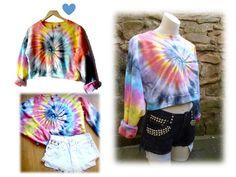 American Apparel tie dye crop fleece sweatshirt one size unique festival/ skater by ConfettiTieDye on Etsy