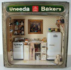 Miniature Uneeda Bakers Kitchen Room Box - 1:12 Scale;
