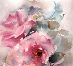 Pink Roses Watercolor Painting Original Watercolor Painting Flowers Watercolour Art One of a Kind Watercolour Art Scale: 9x12 (23x31.5 cm) Medium: top