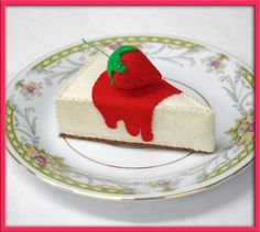 Wool Play Food - Strawberry Cheesecake - Waldorf Inspired Heirloom Quality Wool Felt Play Food. $25.00, via Etsy.