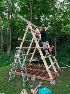Backyard Playground, Backyard For Kids, Backyard Projects, Outdoor Projects, Garden Projects, Diy Projects, A Frame House Plans, A Frame Cabin, Tiny House Cabin
