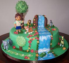 Go Diego Go Birthday Cake and Cupcakes Cupcakes, Cupcake Cakes, Waterfall Cake, Diego Cake, Cake Designs For Boy, Rodjendanske Torte, Dora Cake, Different Kinds Of Cakes, Go Diego Go