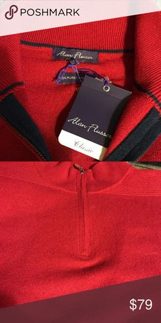 Alan Flusser Christmas Red 1/4 Zip Men's Cashmere Sweater NWT Size XL Alan Flusser Sweaters Zip Up