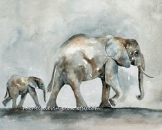 Elephant Art PRINT, Elephant Baby Print (Elephant PRINTS SET of two from watercolor elephant paintings) 8 x10 gray beige tan brown blue. $28.00, via Etsy.