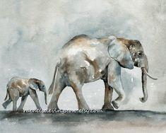 Elephant Art PRINT, Elephant Baby Print (Elephant PRINTS SET of two from watercolor elephant paintings) 8 x10 gray beige tan brown blue. $28.00, via Etsy.