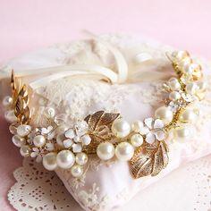 Hoja de oro del pelo adornos de pelo de la boda accesorios nupciales de la perla Granos de la joyería headwear de la venda de celada de novia