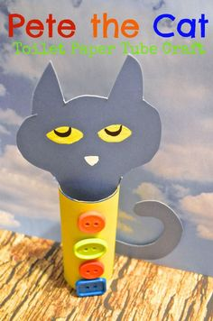 Pete the Cat Recycled Toilet Paper tube Craft for Kids - PLUS a link to their Pete the Cat DIY T-shirt tutorial, so super cute!