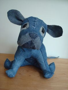 Penelope Pittie Upcycled Denim Stuffed Animal by BusyBeehive,