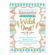 Wild One Birthday, girl 1st birthday, tribal Card