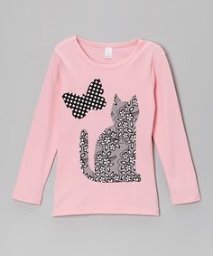 Take a look at this Pink & Gray Floral Cat Tee - Toddler & Girls on zulily today!
