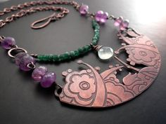 Copper Garden Flower Crescent Necklace by Lost Sparrow Jewelry