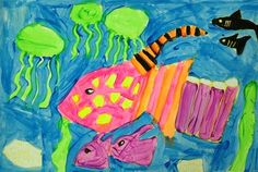 Artsonia Art Museum :: Artwork by Addison759  Students looked at various pictures of fish and their environments to draw out with a yellow crayon. Once drawn out students chose either cool or warm colors to paint their fish. The background was painted with the opposite colors.  Warm/Cool Fish Painting