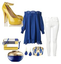 """""""blue yellow and white"""" by  Diva of Cake Polyvore featuring Marni, WithChic, Mother, Giuseppe Zanotti, JudeFrances and Guerlain"""
