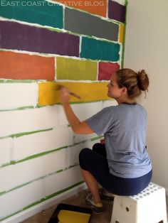 Use frog tape and paint over edge with base color = no more bleeding to create this DIY colorful accent wall in my daughter's bedroom. wandgestaltung How to Paint a Mosaic Accent Wall {Bedroom Makeover} I Miss My Daughter, Diy Wall Painting, Painting Tips, Decorative Wall Paintings, Painting Wall Designs, Wall Paint Patterns, Creative Wall Painting, Painting Doors, Tape Painting