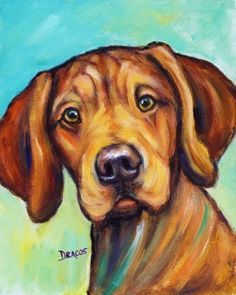 Rhodesian Ridgeback Dog Art Original Painting Rhodie Puppy on bluish | LarkStudios - Painting on ArtFire