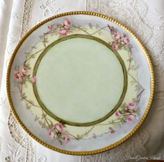 Antique French Limoges Haviland et Cie Hand Painted Roses Plate. #FrenchGardenHouse.com