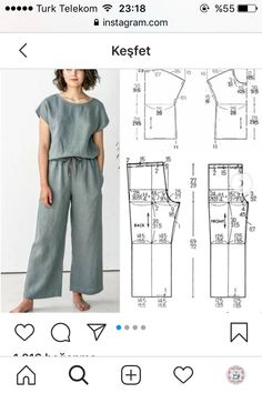 Dress Sewing Tutorials, Tunic Sewing Patterns, Clothing Patterns, Sewing Kids Clothes, Fashion Sewing, Women Pants, Patron Couture, Pattern Sewing, Sewing Tips
