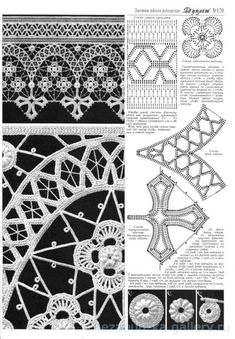 irish crochet motifs View album on Irish Crochet Charts, Filet Crochet, Irish Crochet Patterns, Crochet Lace Edging, Crochet Borders, Crochet Diagram, Freeform Crochet, Thread Crochet, Crochet Designs