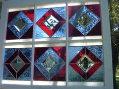 Stained Glass SIX PANEL SALVAGED Window Bevel by ChorvalCottage, $250.00