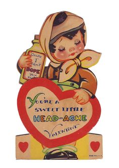 Girl With Head-Ache vintage valentine.