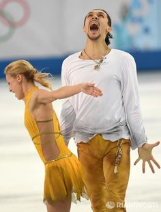Super shot of Maxim Trankov and Tatiana Volosozhar after the FS 12.02.2014