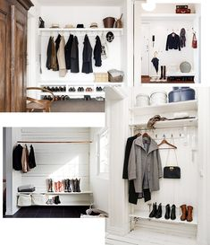 Vanja Wikström | GlamMOMtrepreneur | Page 5 Entry Hallway, Entrance Hall, Entryway, Den Ideas, Hanging Clothes, Closet Bedroom, Scandinavian Home, Modern Retro, Minimalist Bedroom